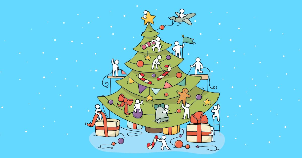 Et pyntet juletræ